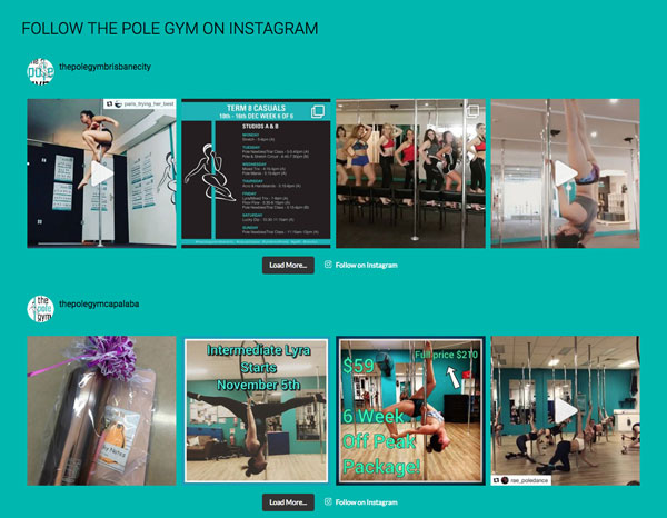 The Pole Gym website instagram feed