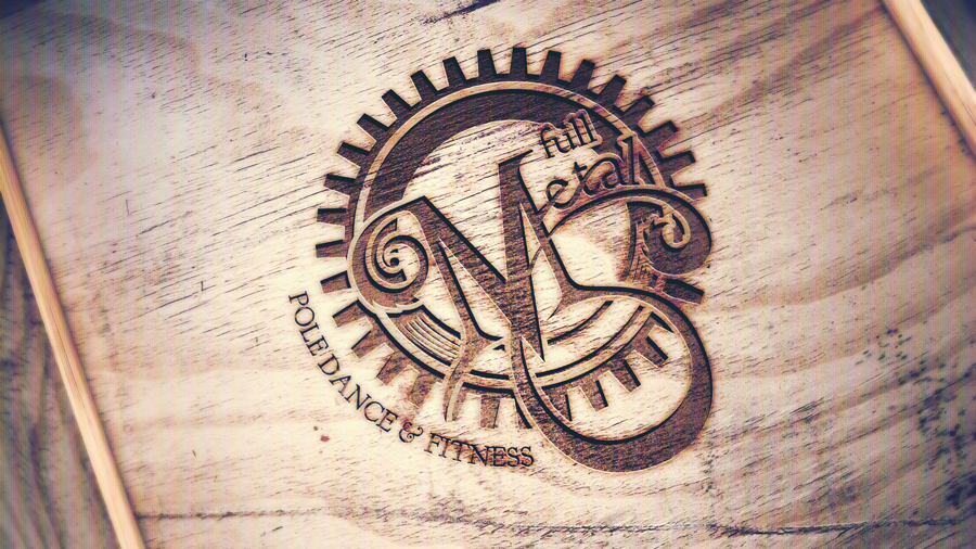 Full Metal burnt wood logo